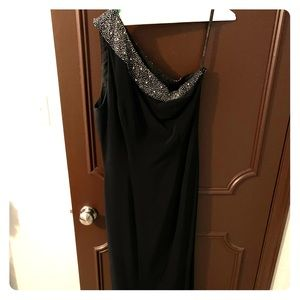 One Shoulder Black Dress with Beaded Accent